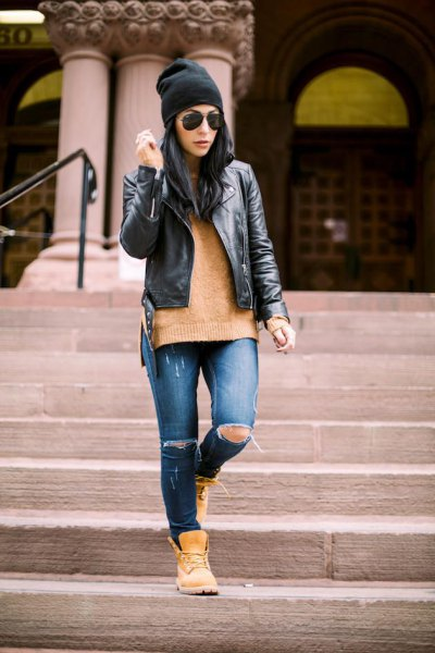 black leather jacket green sweater Timberland boots