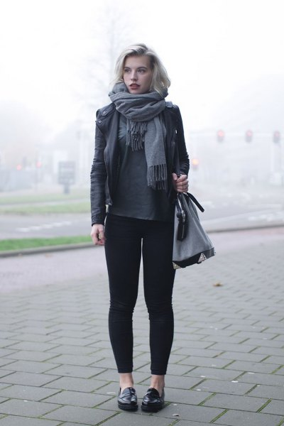 black leather jacket gray leggings slippers