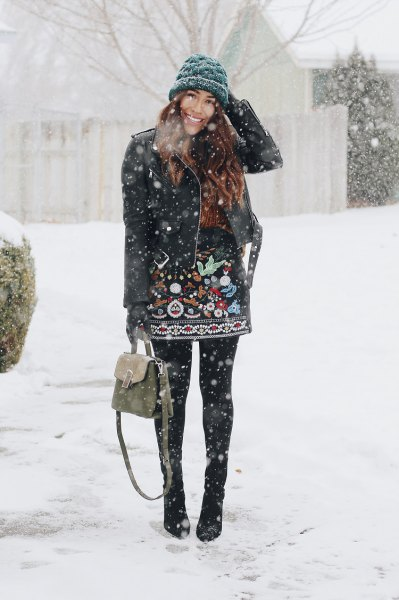 black leather jacket knitted hat