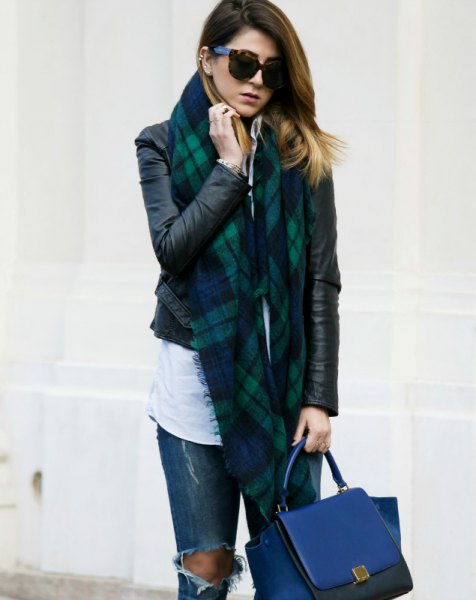 black leather jacket navy and gray tartan scarf