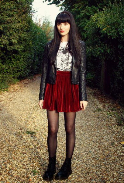black leather jacket red velvet skirt