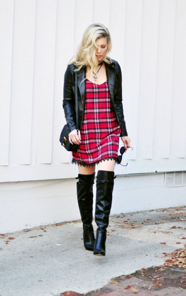 black leather jacket overknee boots