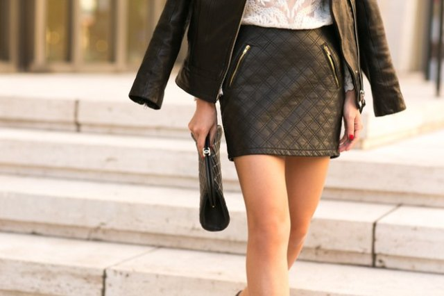 black leather jacket white lace top
