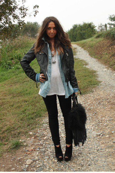 black leather jacket with chambray shirt and open wedge boots