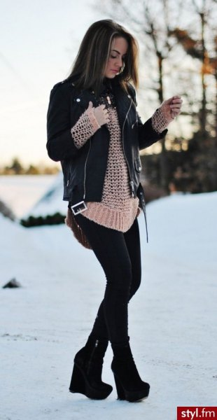 black leather jacket with crepe crochet sweater and ankle boots