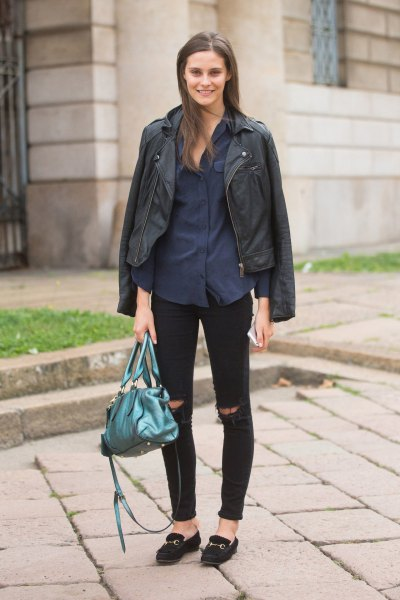 black leather jacket with dark blue shirt with buttons