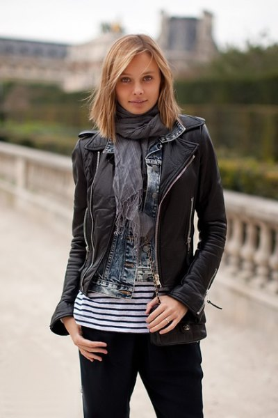 black leather jacket with gray chiffon scarf and striped t-shirt