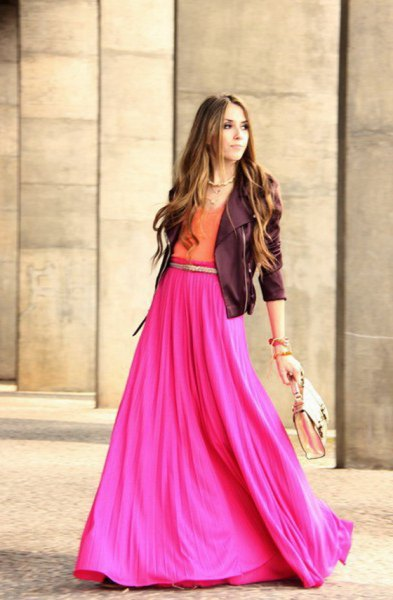 black leather jacket with pink maxi skirt