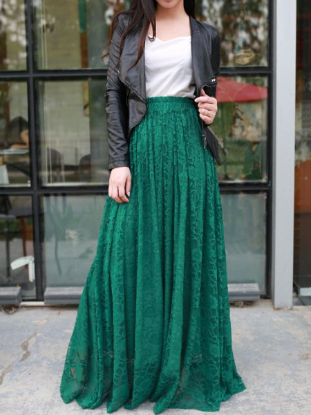 black leather jacket with jade green maxi skirt