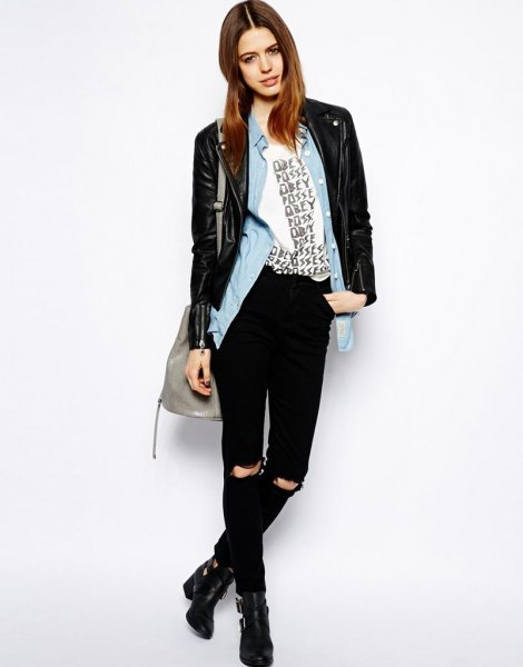 black leather jacket with light blue chambray shirt and ankle boots