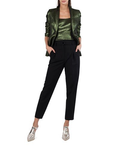 black leather jacket with matching top and shortened pants