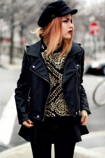black leather jacket with minirater skirt and leggings