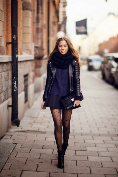 black leather jacket with minirater skirt and dotted tights