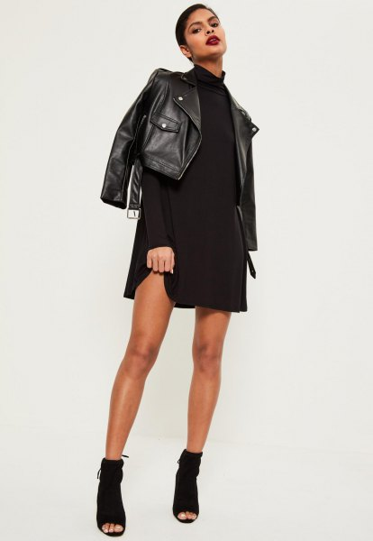 black leather jacket with swing dress with stand-up collar