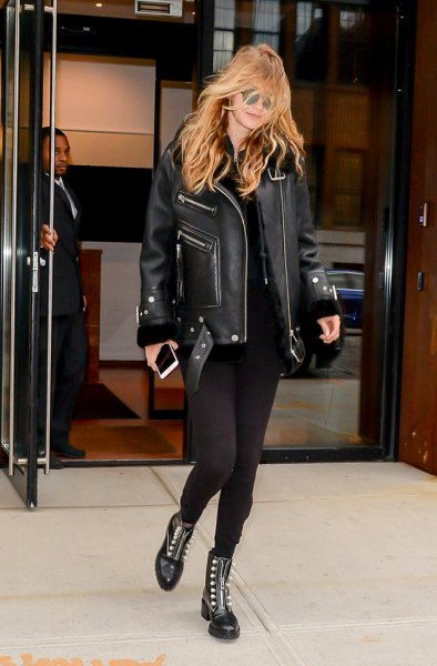black leather jacket with skinny jeans and ankle combat boots