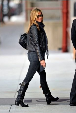 black leather jacket with skinny jeans and knee-high moto boots