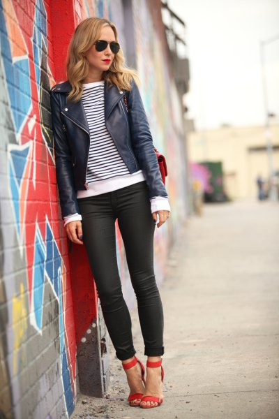 black leather jacket with striped long-sleeved T-shirt and coated skinny jeans with cuffs