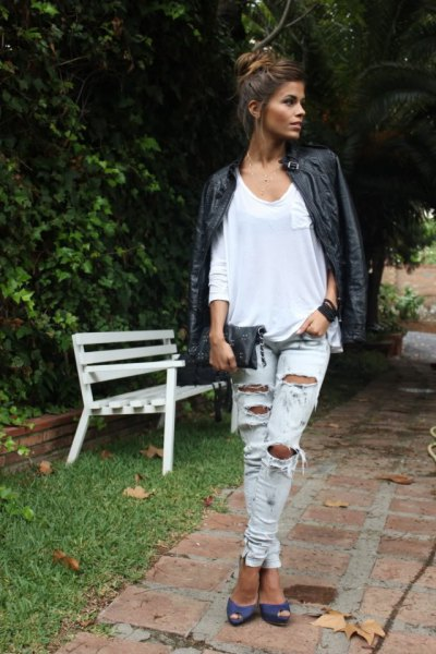 black leather jacket with white long-sleeved linen t-shirt