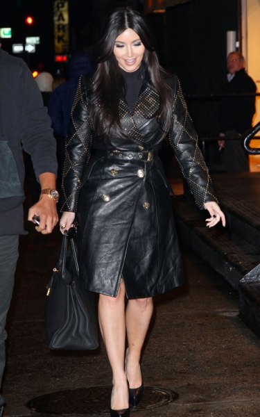 black trench coat with long leather belt