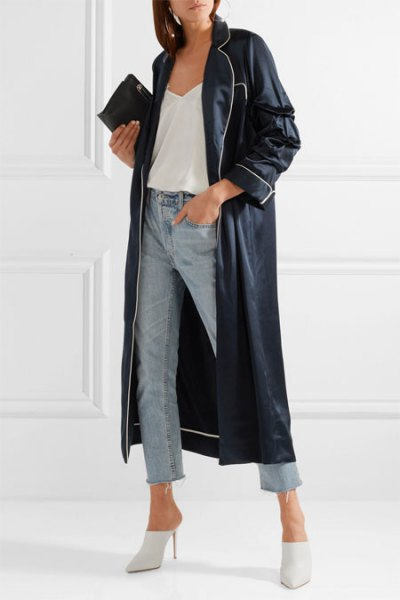 black leather maxi jacket with short jeans and white heels