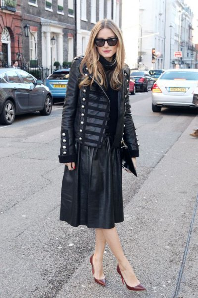 black leather military blazer with a flared midi skirt