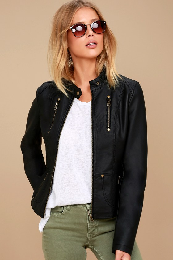 Chic Black Jacket - Moto Jacket - Vegan Leather Jacket - $74.00 .