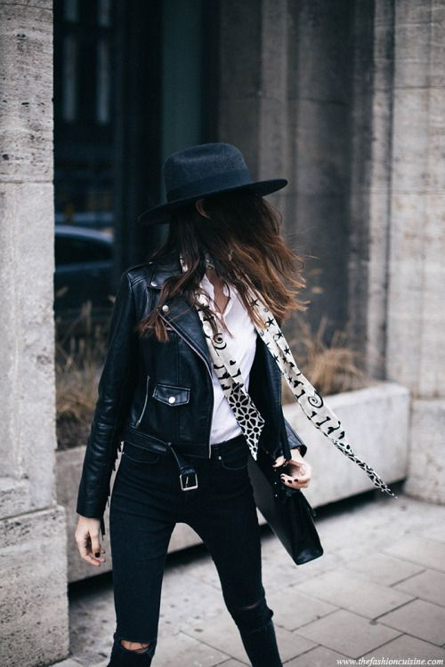 black leather moto jacket hat scarf