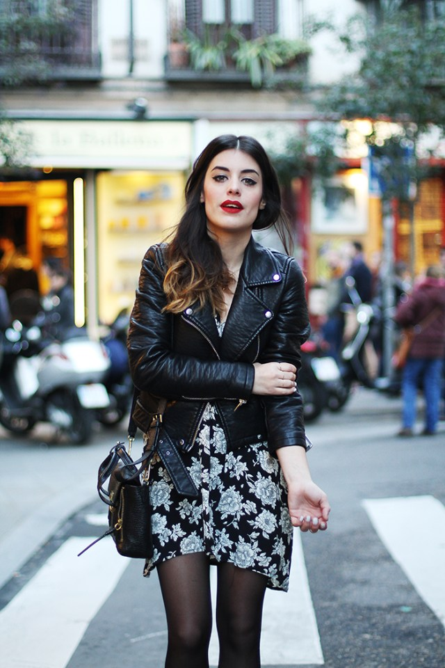 black leather moto jacket floral black