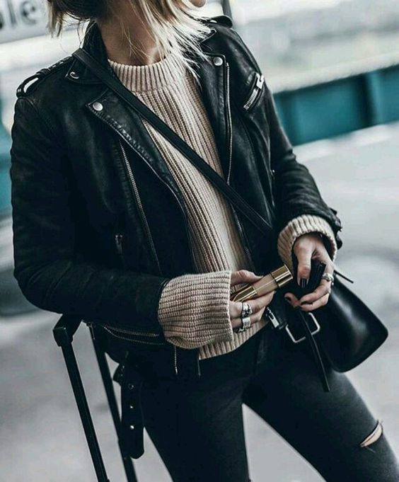 black leather moto jacket beige knit