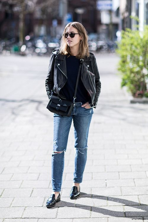 black leather moto jacket slipper