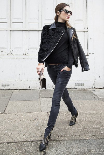 black leather moto jacket with coated skinny jeans