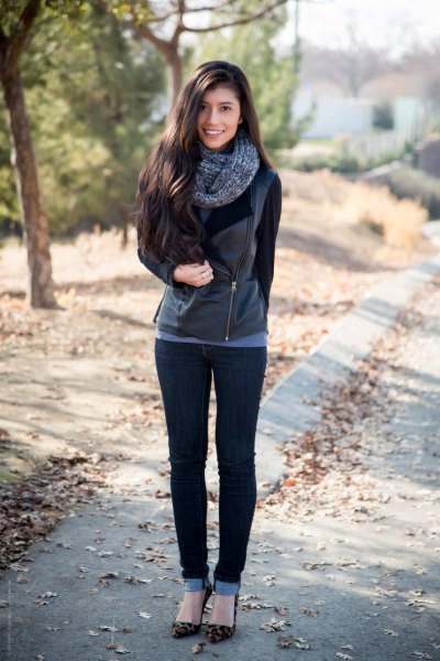 black leather moto jacket with skinny jeans with cuffs