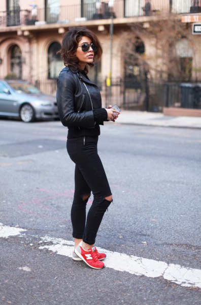 black leather moto jacket with ripped skinny jeans