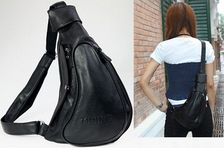 black leather shoulder bag with white and dark blue t-shirt and jeans