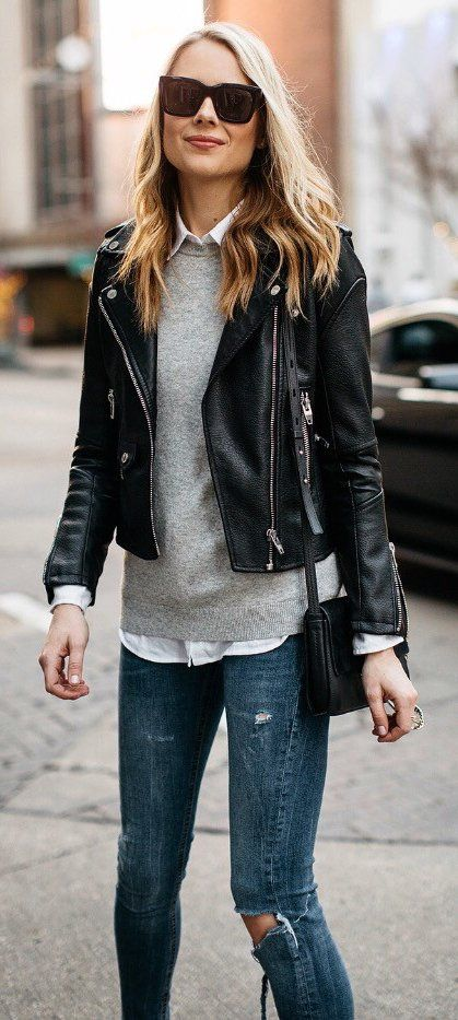 Home - Blend Of Bites | Black leather jacket outfit, Leather .