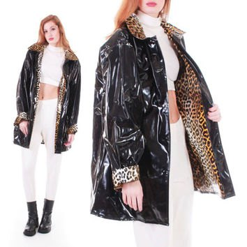 oversized reflective jacket with black leopard print and white crop top