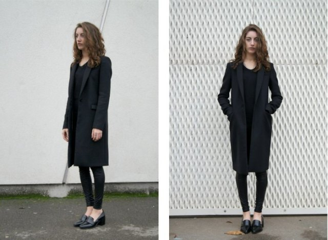 black slippers with long blazer