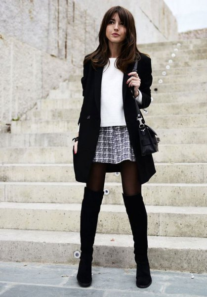 black long blazer with checked mini skirt and overknee boots
