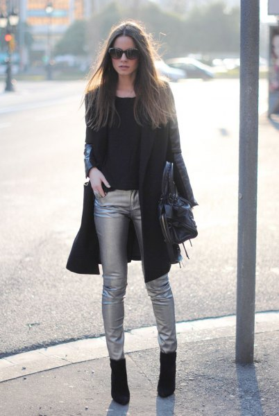 black long blazer with silver tube pants