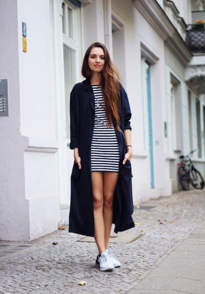 sweater black long striped t-shirt dress