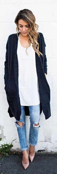 black long cardigan white oversized vest