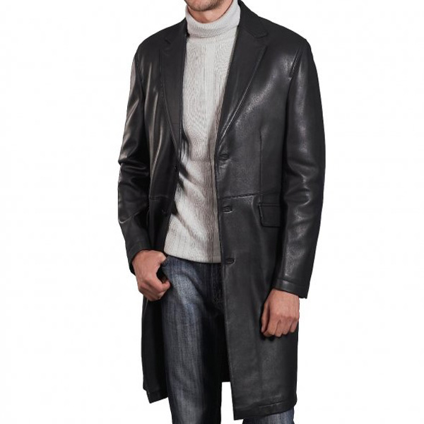 A Supreme Quality Black Leather Long Coat For Men - Leather .