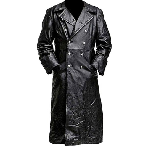 German Officer Black Genuine Real Leather Coat Long Black Trench .