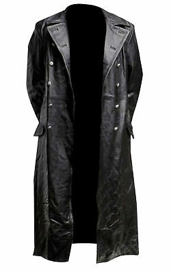 MEN'S CLASSIC OFFICER MILITARY BLACK LEATHER LONG GERMAN TRENCH .