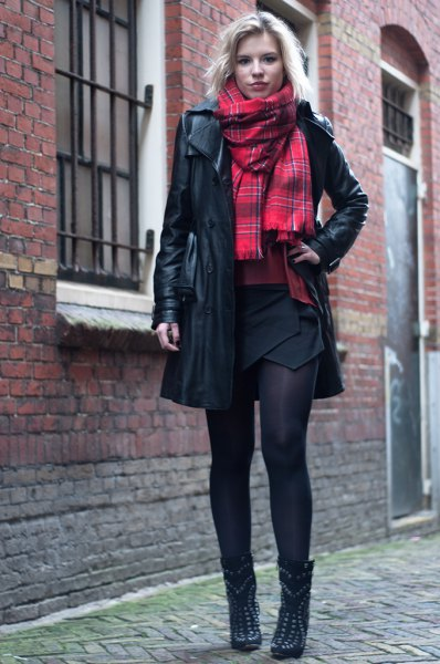black long leather jacket red scarf