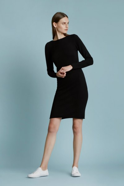 black long-sleeved cashmere dress white sneakers