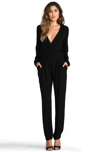 black, long-sleeved overall with deep V-neck