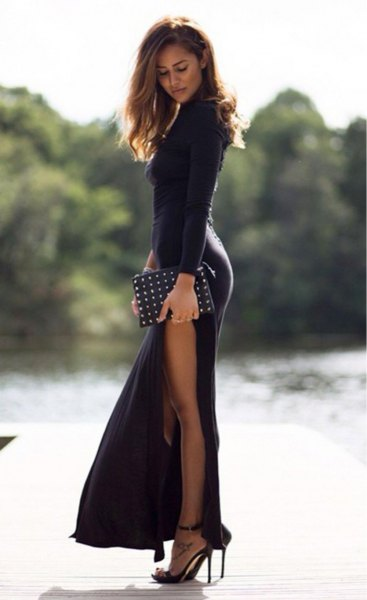 black long-sleeved fit and flare maxi dress with side slit