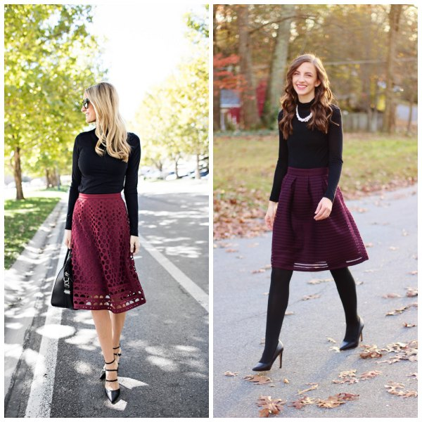 black long-sleeved T-shirt with a burgundy, semi-transparent midi skirt