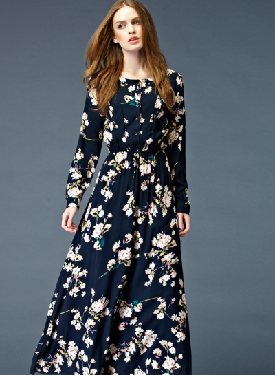 black long-sleeved maxi dress with floral pattern